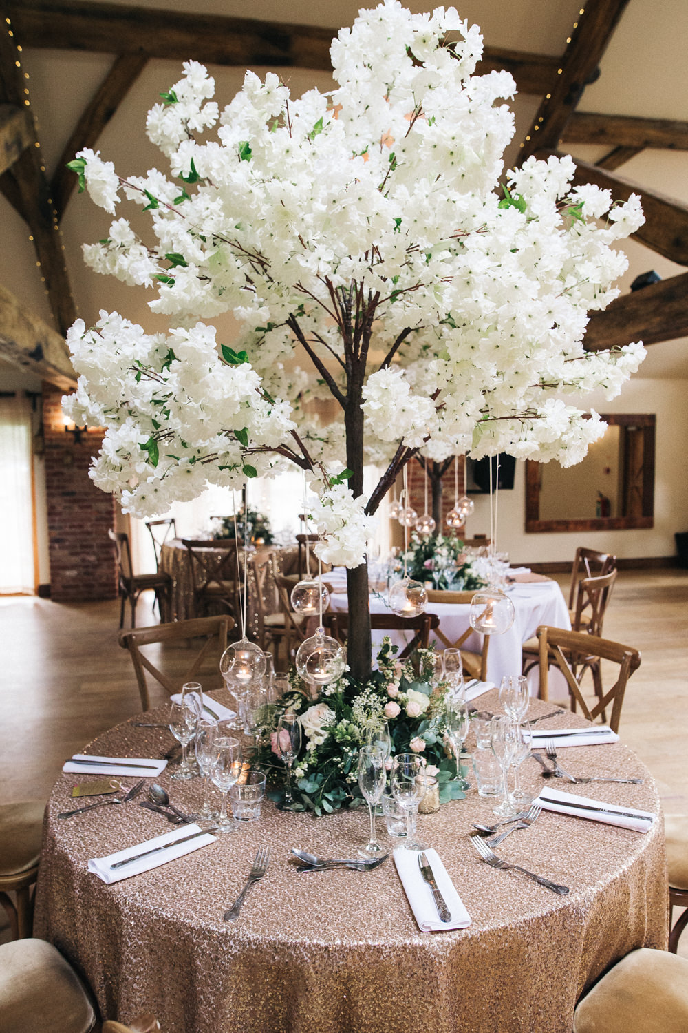 Blossom Tree Centre Piece Sequin Table Cloth Hanging Tealights Whinstone View Wedding Sally T Photography