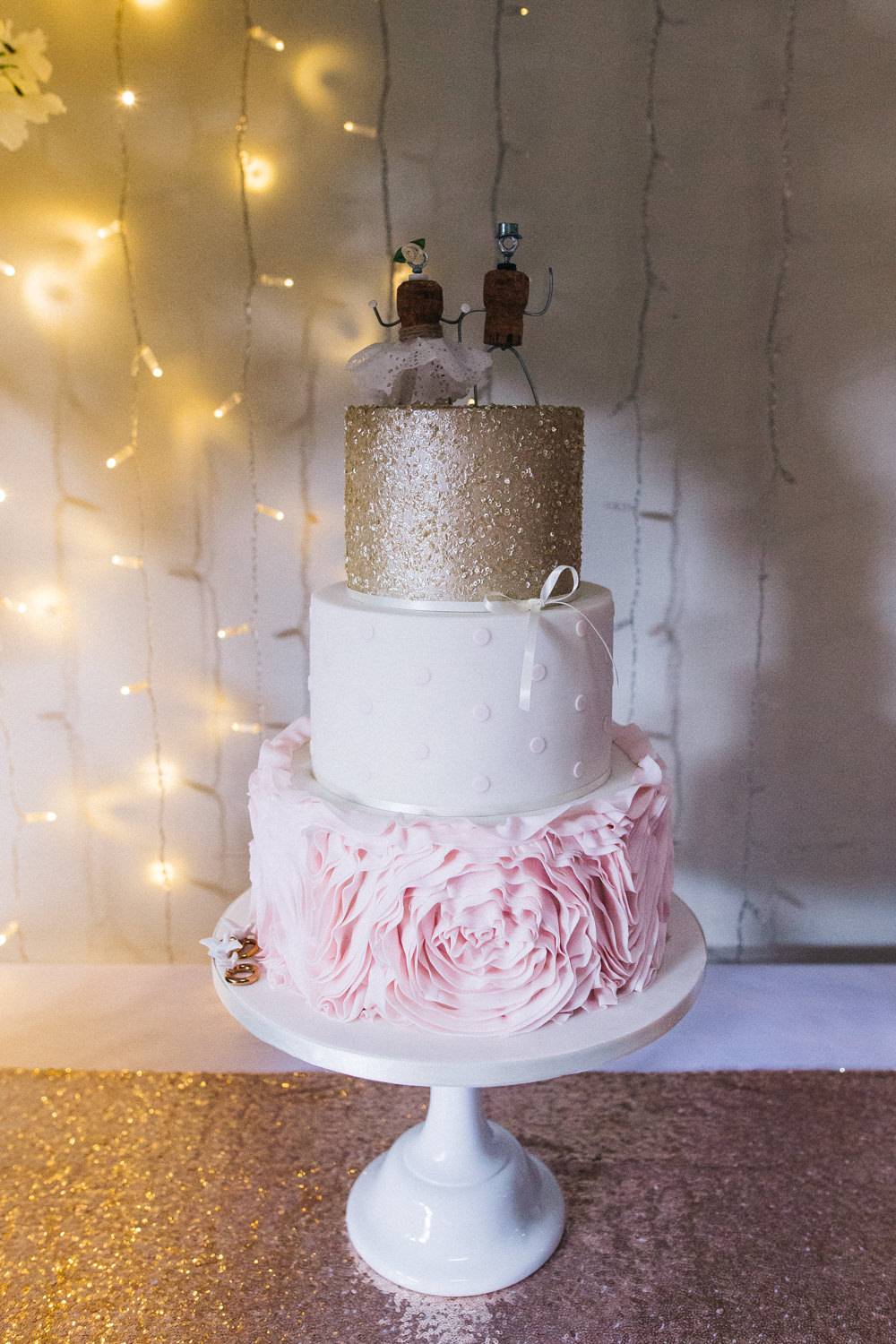 Cake Pea Light Curtain Sequin Polka Dot Ruffle Champagne Cork Topper Whinstone View Wedding Sally T Photography