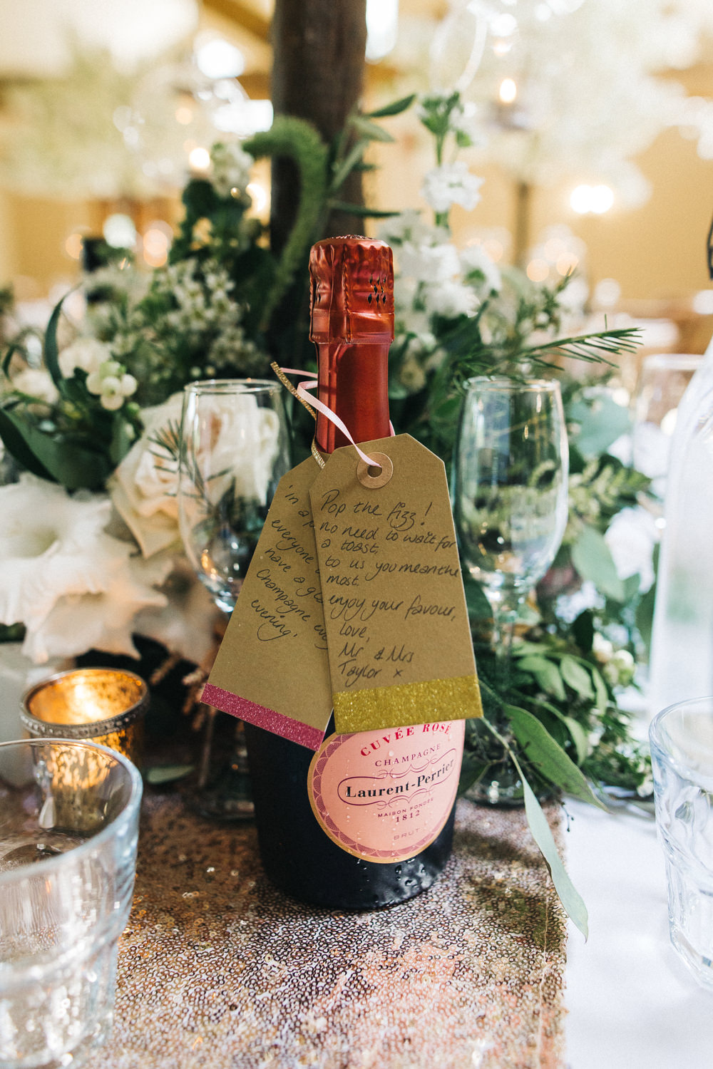 Champagne Favour Sequin Runner Whinstone View Wedding Sally T Photography