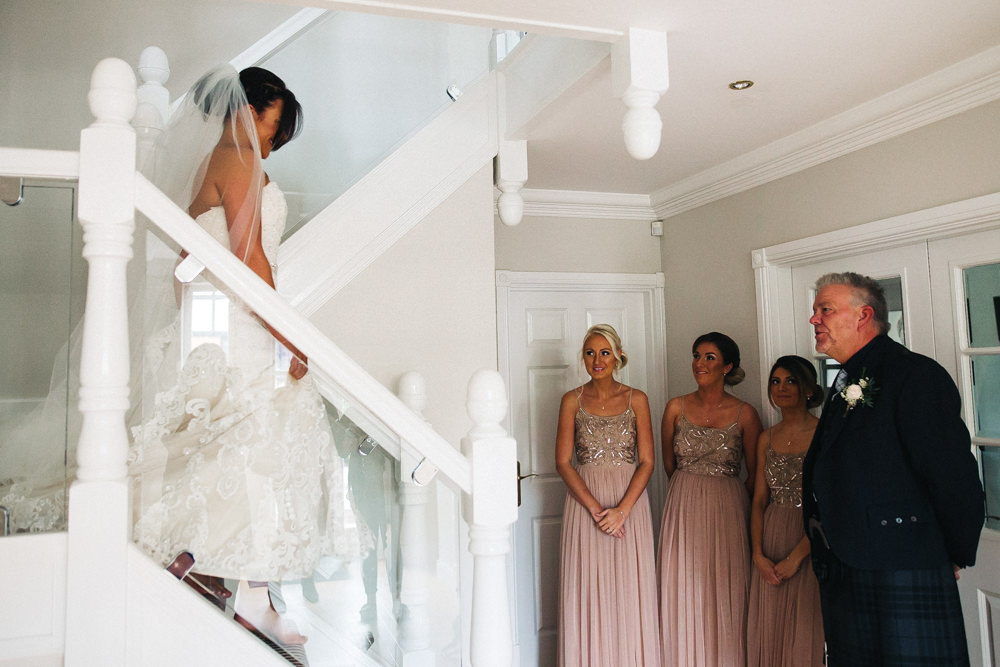 Bride Bridal Sweetheart Neckline Dress Gown Fit Flare Veil Sparkly Pink Maxi Dress Bridesmaids Whinstone View Wedding Sally T Photography