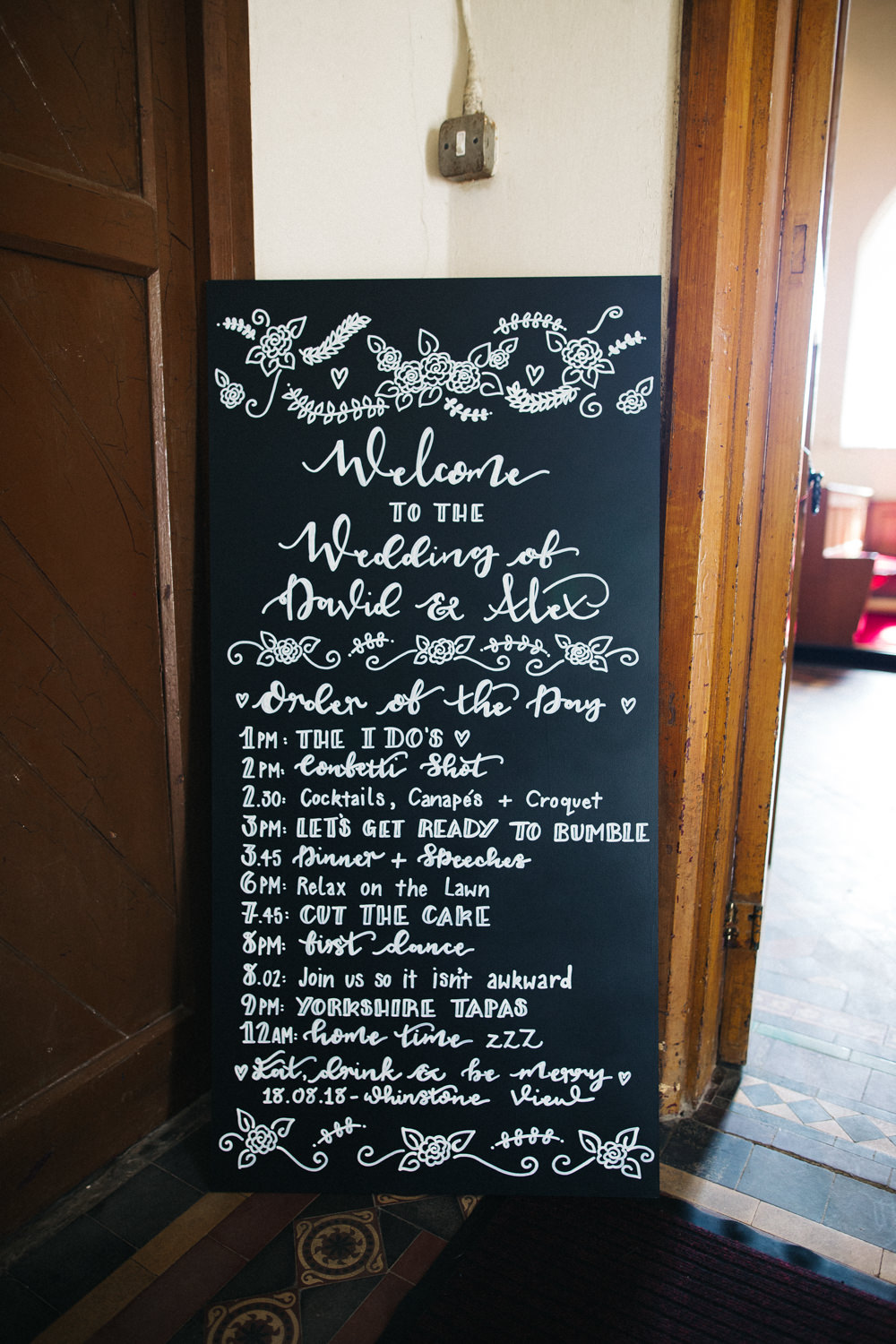 Welcome Chalk Board Sign Board Whinstone View Wedding Sally T Photography