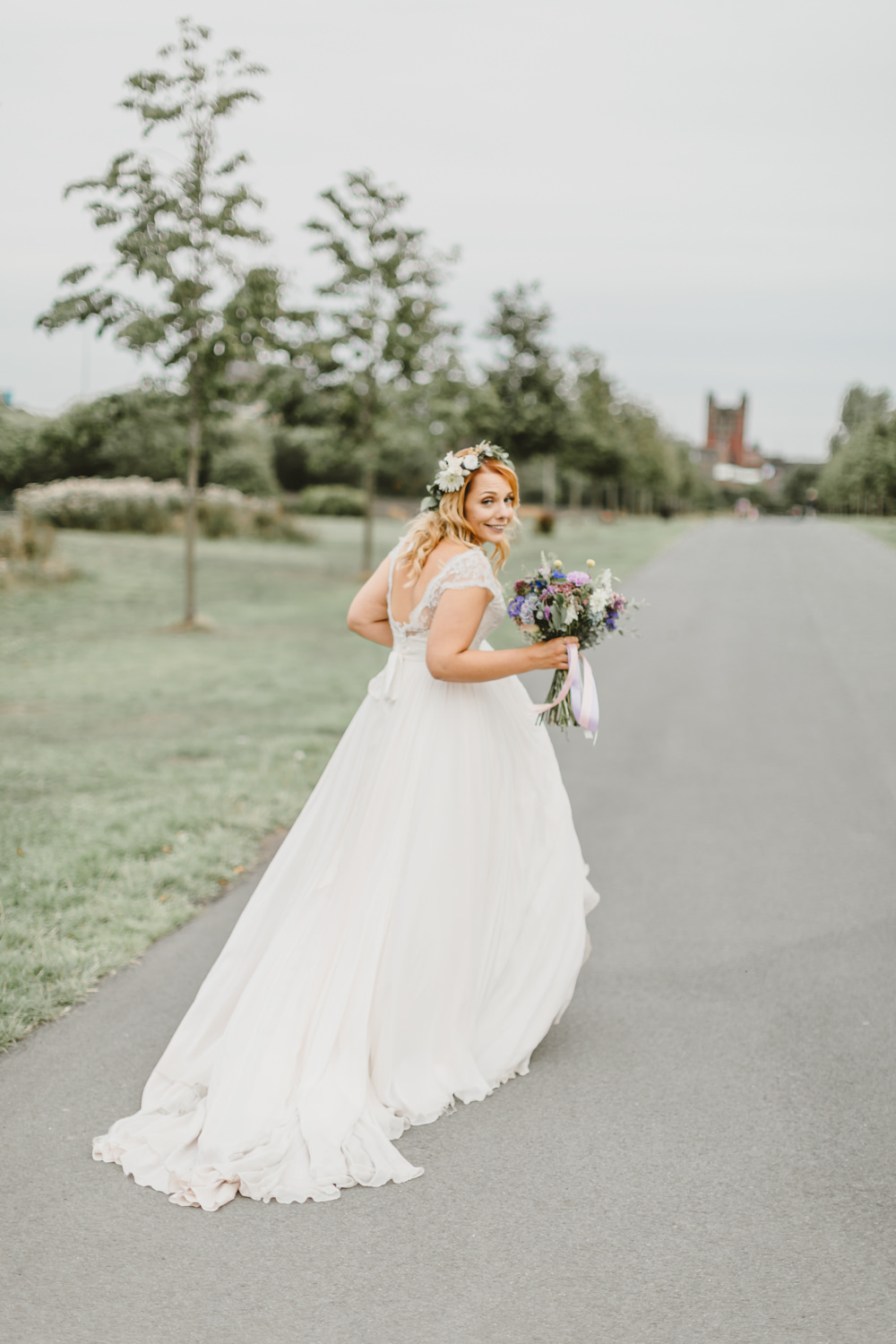 Dress Gown Bride Bridal Naomi Neoh A Line Lace Top Cap Sleeves Train Wylam Brewery Wedding Amy Lou Photography