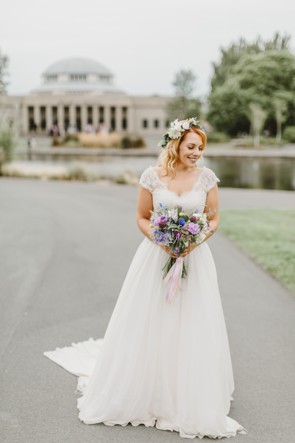 Dress Gown Bride Bridal Naomi Neoh A Line Lace Top Cap Sleeves Wylam Brewery Wedding Amy Lou Photography