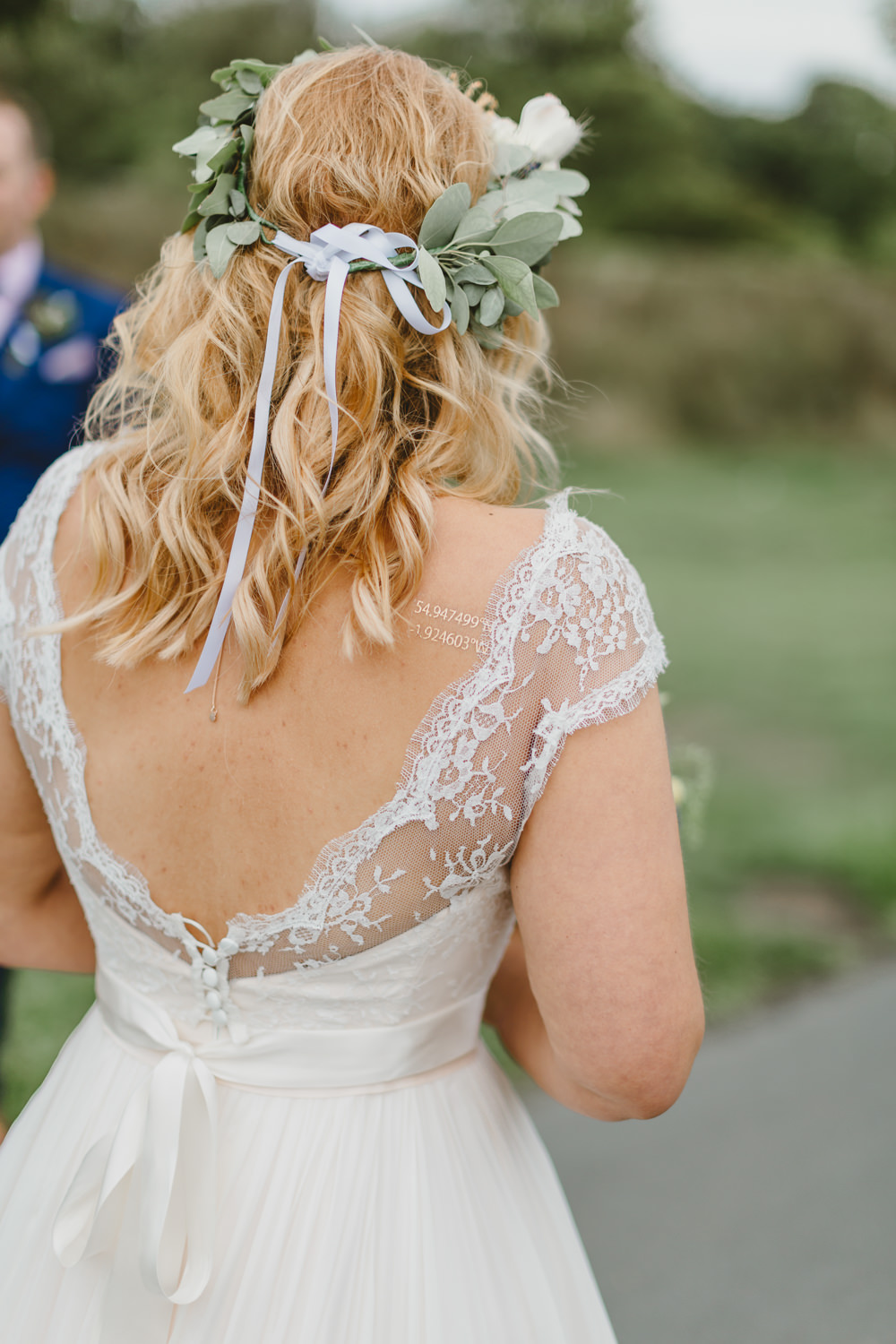 Dress Gown Bride Bridal Naomi Neoh A Line Lace Top Cap Sleeves Flower Crown Wylam Brewery Wedding Amy Lou Photography