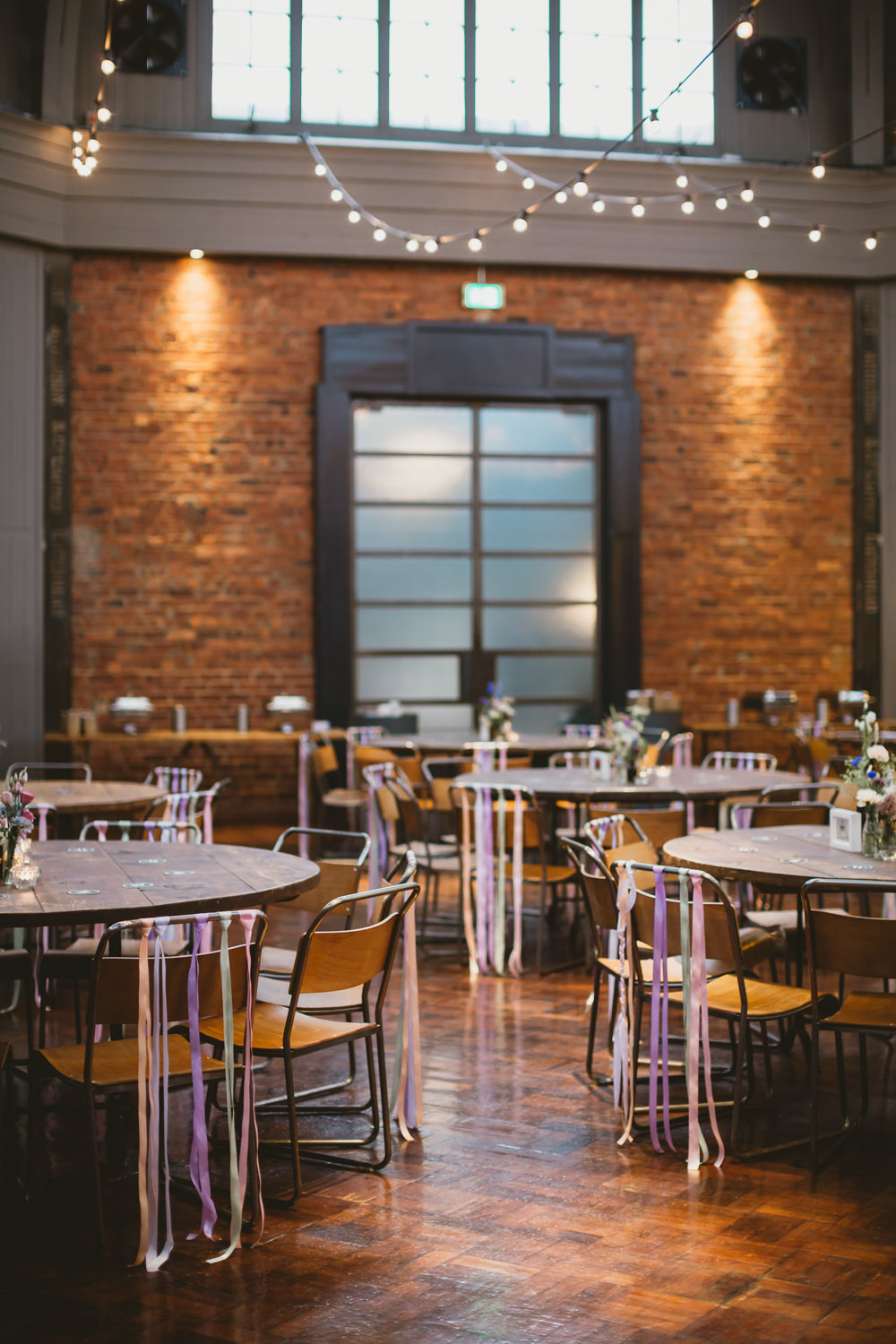 Reception Venue Decor Decoration Industrial Ribbon Chairs Colourful Wylam Brewery Wedding Amy Lou Photography