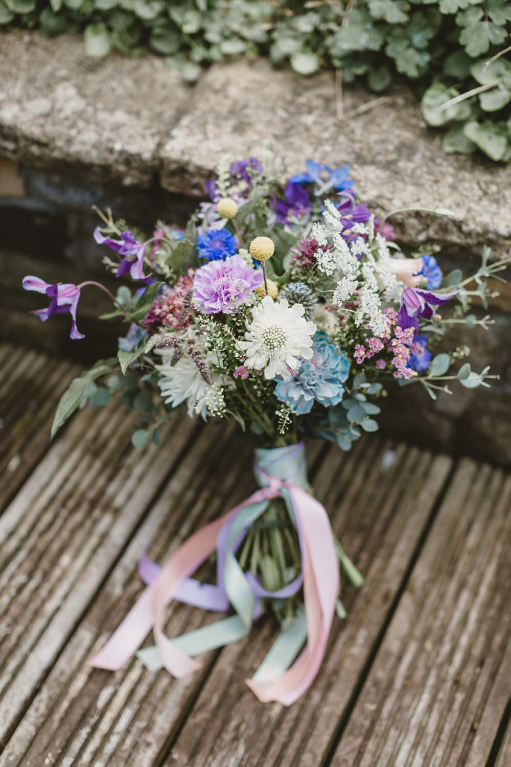 Bouquet Flowers Bride Bridal Ribbons Colourful Thistle Craspedia Wylam Brewery Wedding Amy Lou Photography