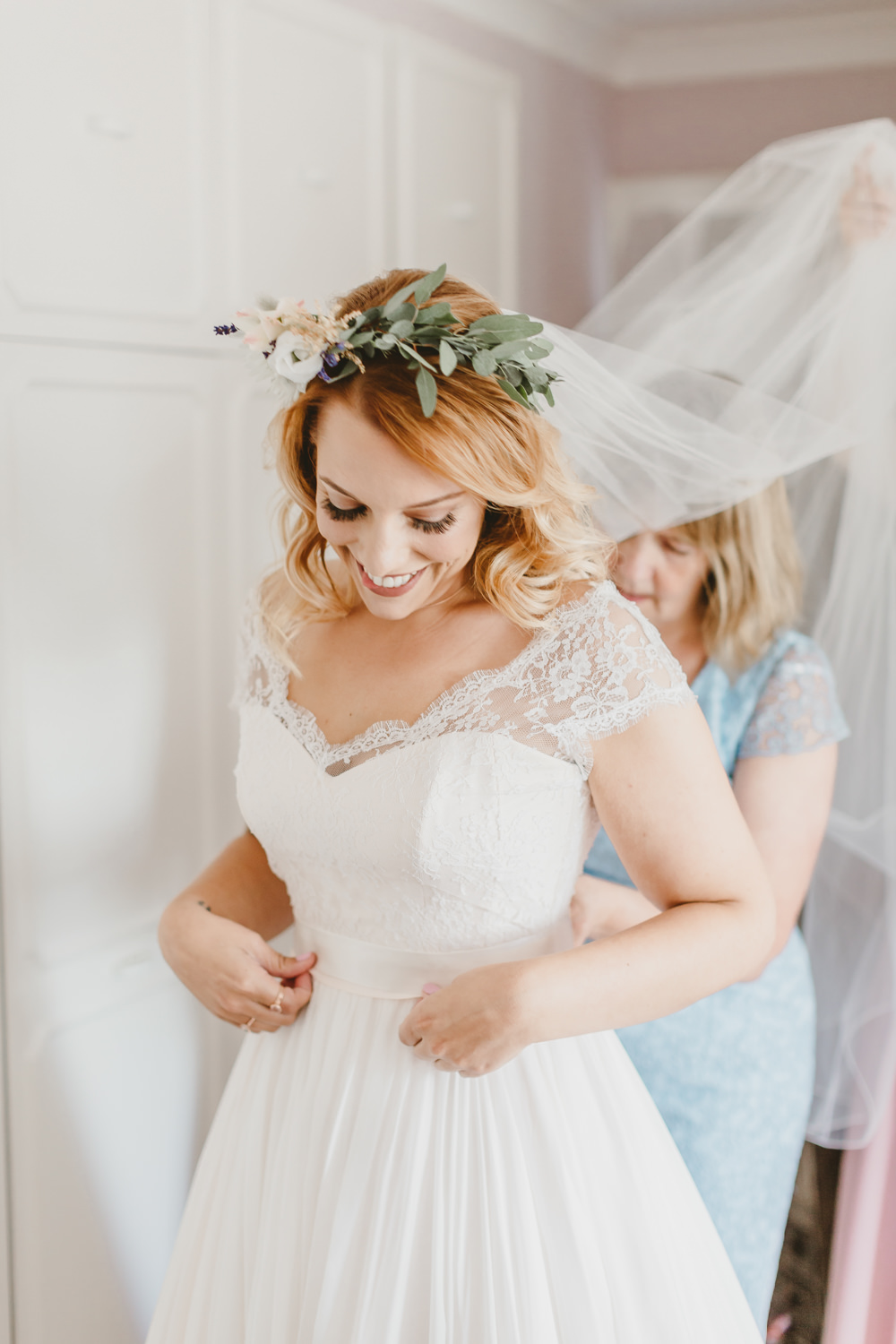 Dress Gown Bride Bridal Naomi Neoh A Line Lace Top Cap Sleeves Flower Crown Veil Wylam Brewery Wedding Amy Lou Photography