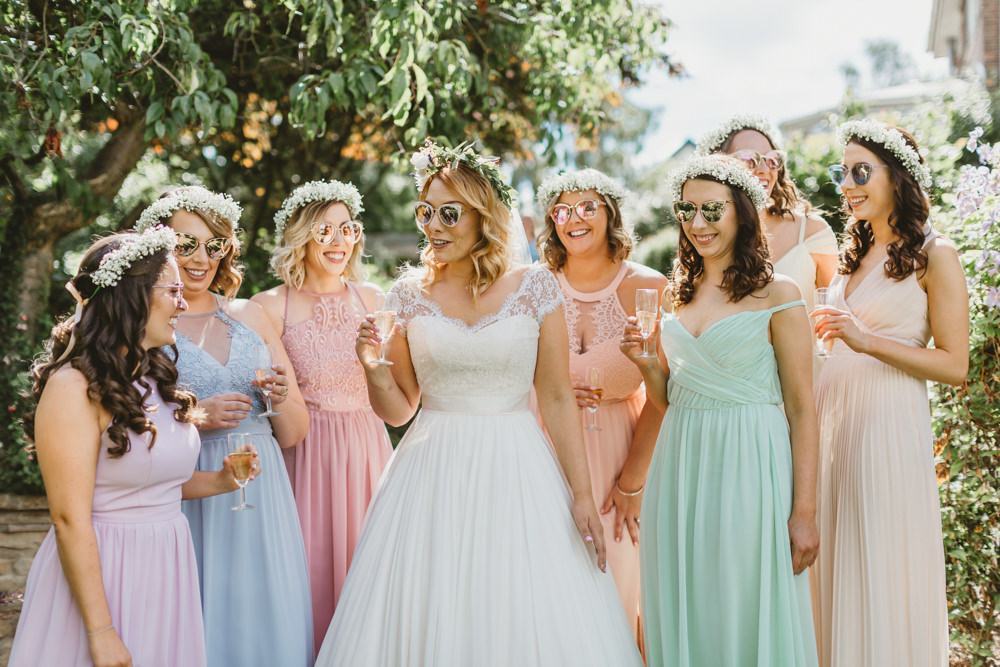 Pastel Mismatched Long Maxi Bridesmaid Dresses Flower Crowns Dress Wylam Brewery Wedding Amy Lou Photography