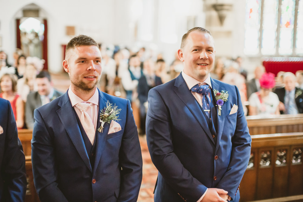 Groom Suit Blue Waistcoat Wylam Brewery Wedding Amy Lou Photography
