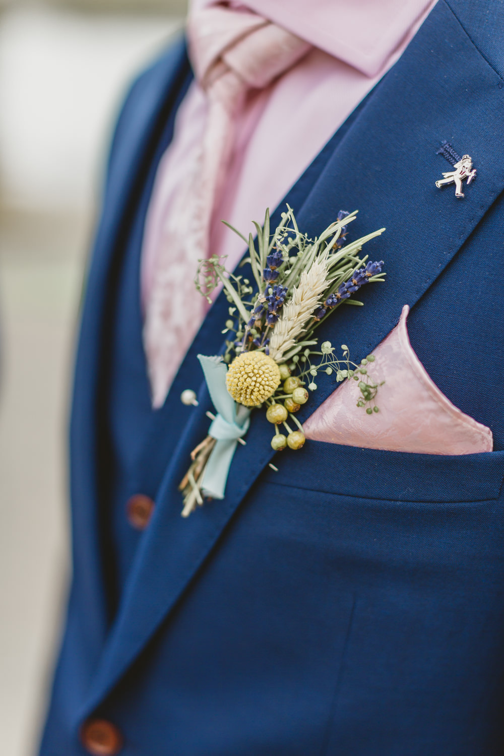Groom Suit Blue Waistcoat Groomsmen Pink Shirt Buttonhole Flowers Wheat Lavender Craspedia Wylam Brewery Wedding Amy Lou Photography