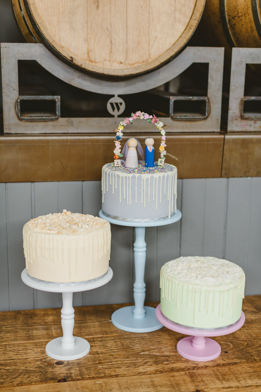 Cake Drip Grey Bride Groom Topper Sprinkles Stand Table Wylam Brewery Wedding Amy Lou Photography