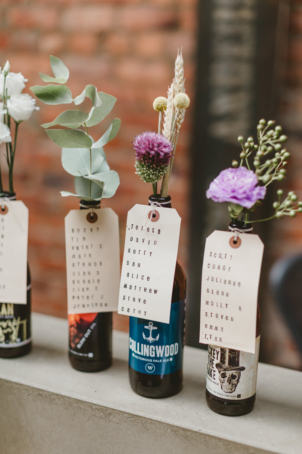 Flowers Bottles Seating Plan Table Chart Luggage Tags Wylam Brewery Wedding Amy Lou Photography