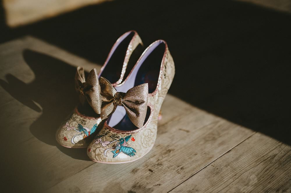 Irregular Choice Cinderella Bow Shoes Bride Bridal Ash Farm Barns Wedding Flawless Photography