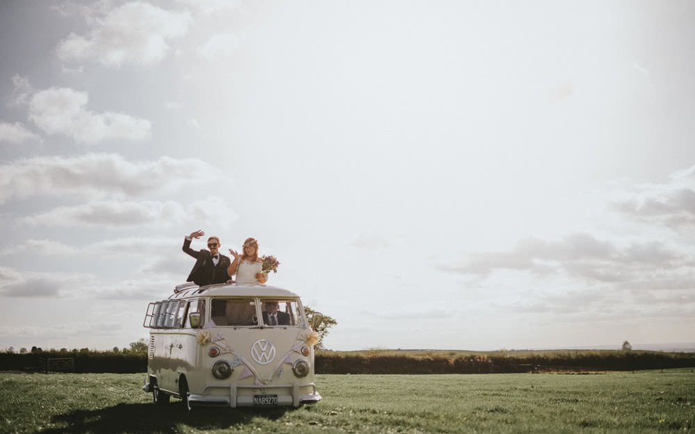 VW Arrival Bride Groom Ash Farm Barns Wedding Flawless Photography