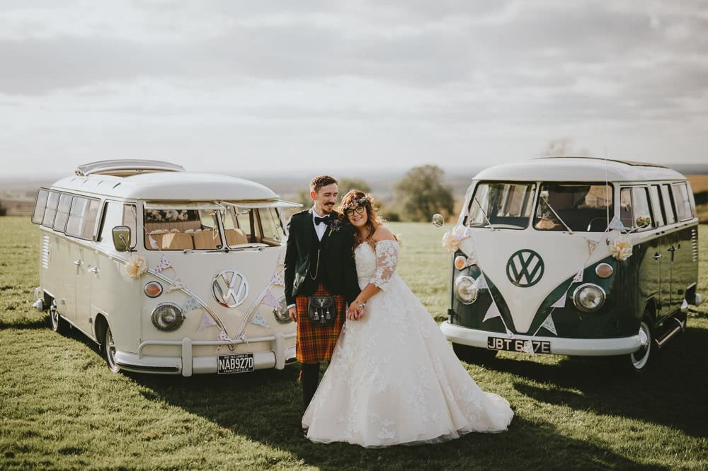 Bride Bridal Lace Sleeves Overlay A Line Dress Gown Flower Crown Kilt Green Jacket Groom Bow Tie VW Campervan Ash Farm Barns Wedding Flawless Photography
