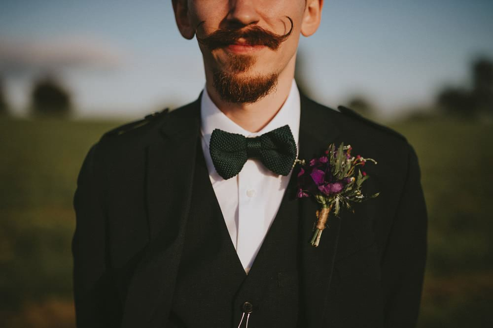 Knitted Green Bow Tie Groom Ash Farm Barns Wedding Flawless Photography