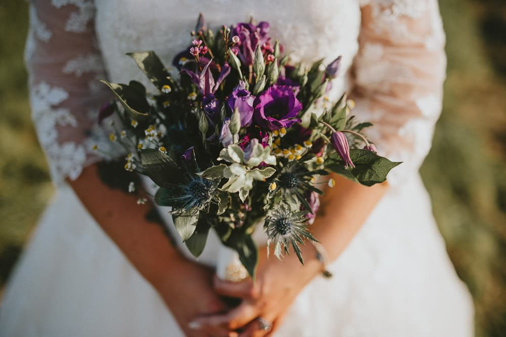 Purple Wildflower Bouquet Ash Farm Barns Wedding Flawless Photography