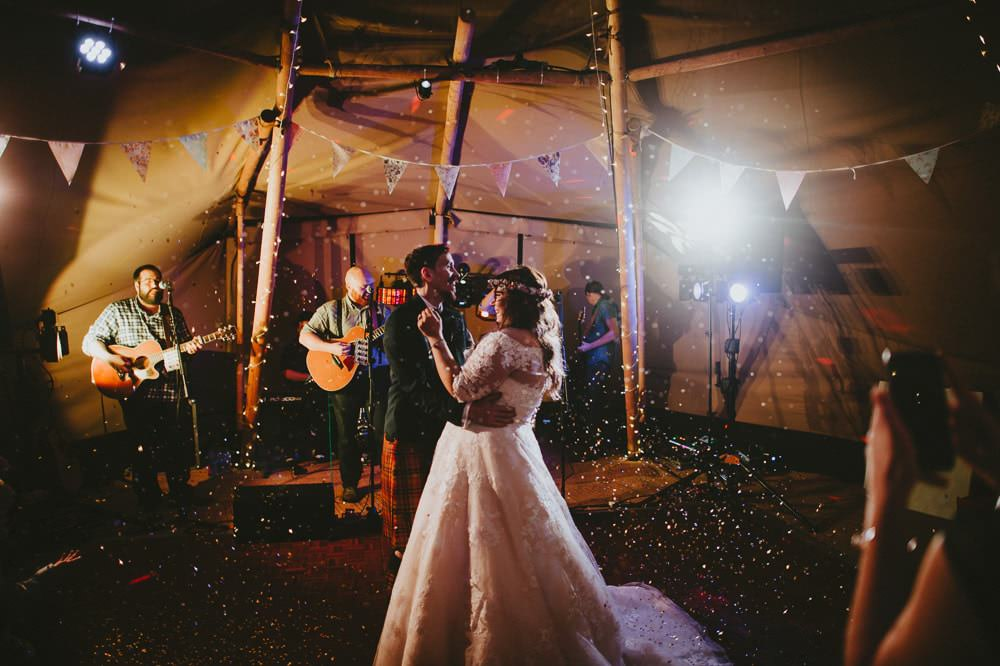Bride Bridal Lace Sleeves Overlay A Line Dress Gown Flower Crown Kilt Green Jacket Groom Bow Tie Tipi First Dance Ash Farm Barns Wedding Flawless Photography