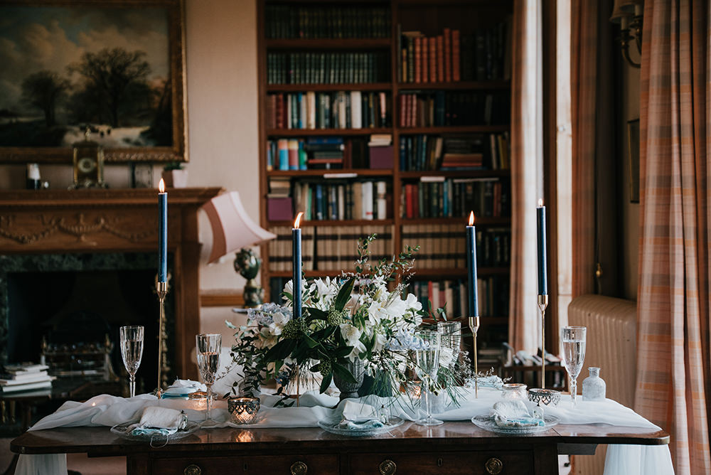 Table Tablescape Decor Decoration Candles Grey Silver Urn Flowers Blue Wedding Ideas Emma McNair Photography
