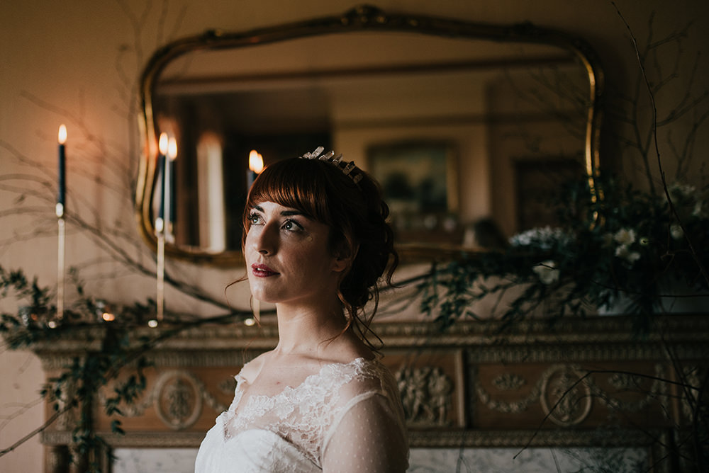Bride Bridal Up Do Hair Style Blue Wedding Ideas Emma McNair Photography
