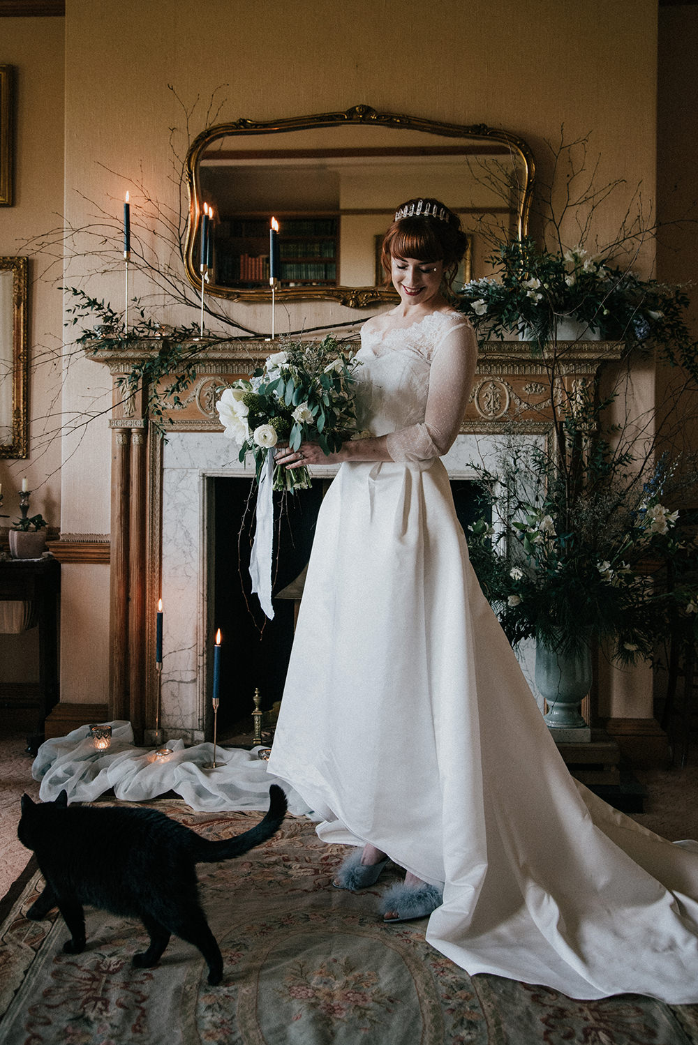Bride Bridal Dress Gown Dip Hem Sleeves Lace Blue Wedding Ideas Emma McNair Photography