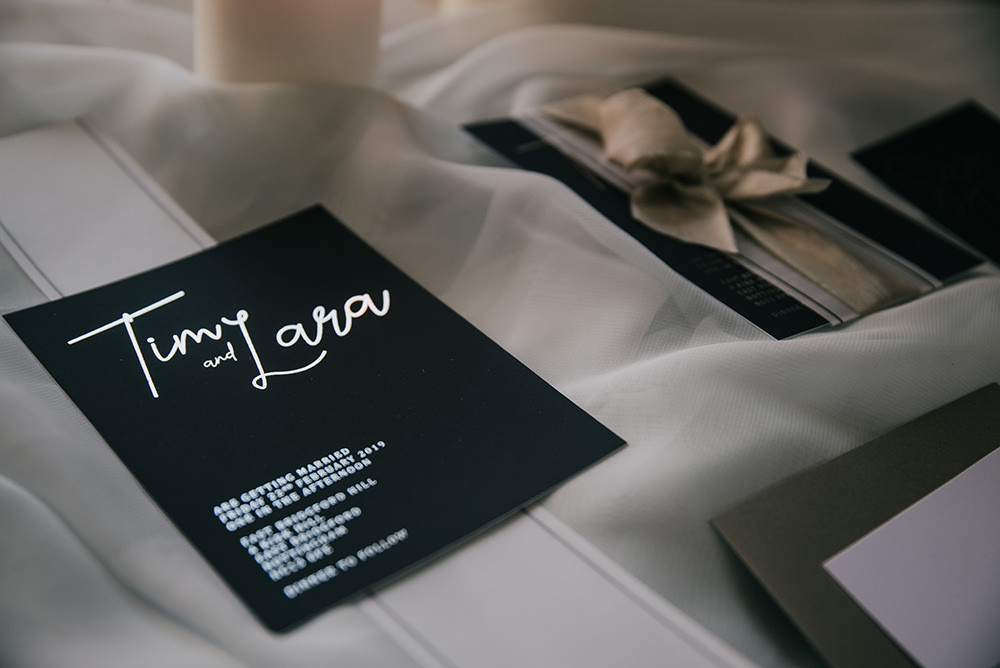 Grey Silver Invites Invitations Stationery Modern Calligraphy Blue Wedding Ideas Emma McNair Photography