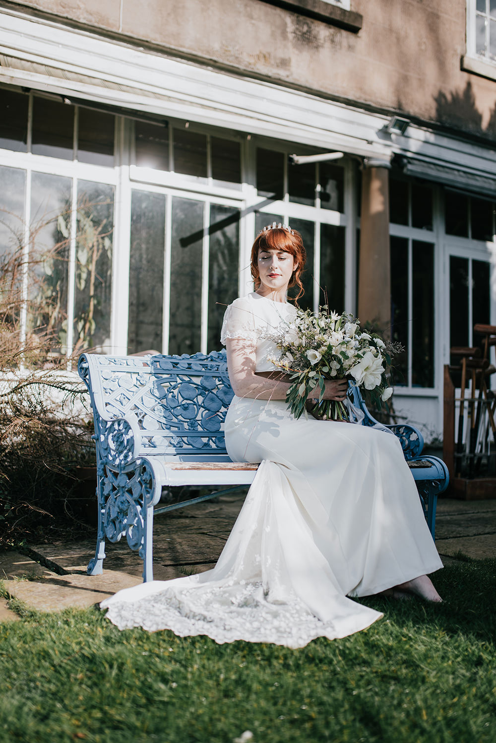Bride Bridal Dress Gown Top Skirt Crop Sleeves Lace Two Piece Lace Train Blue Wedding Ideas Emma McNair Photography