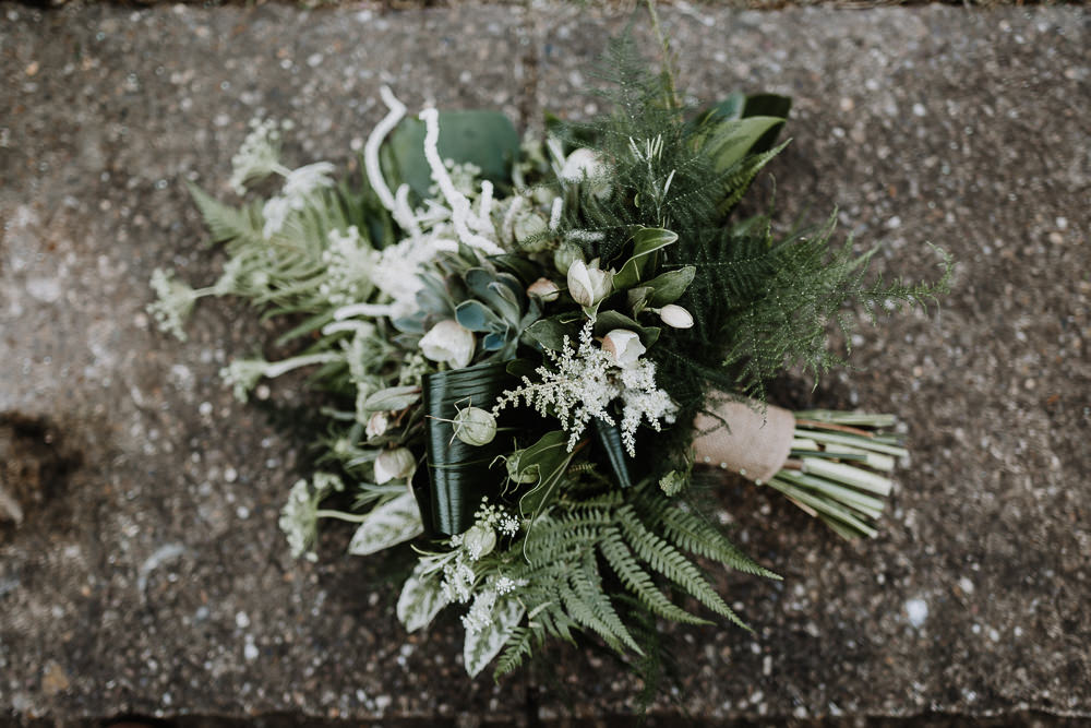 Bouquet Flowers Greenery Foliage Bride Bridal Fern Astilbe Botanical Industrial Wedding Caitlin and Jones Photography