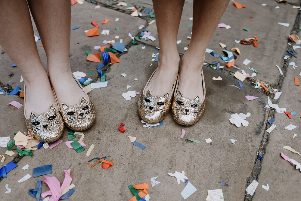 Colourful Confetti Cat Gold Sequin Shoes Botanical Industrial Wedding Caitlin and Jones Photography