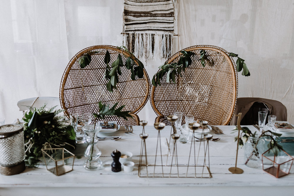 Bohemian Reception Decor Greenery Foliage Peacock Chairs Botanical Industrial Wedding Caitlin and Jones Photography