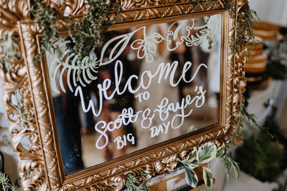 Mirror Welcome Sign Signage Calligraphy Mirror Botanical Industrial Wedding Caitlin and Jones Photography