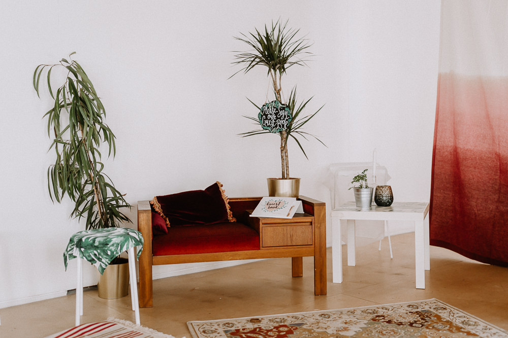 Retro Seating Area Indoor Plants Botanical Industrial Wedding Caitlin and Jones Photography