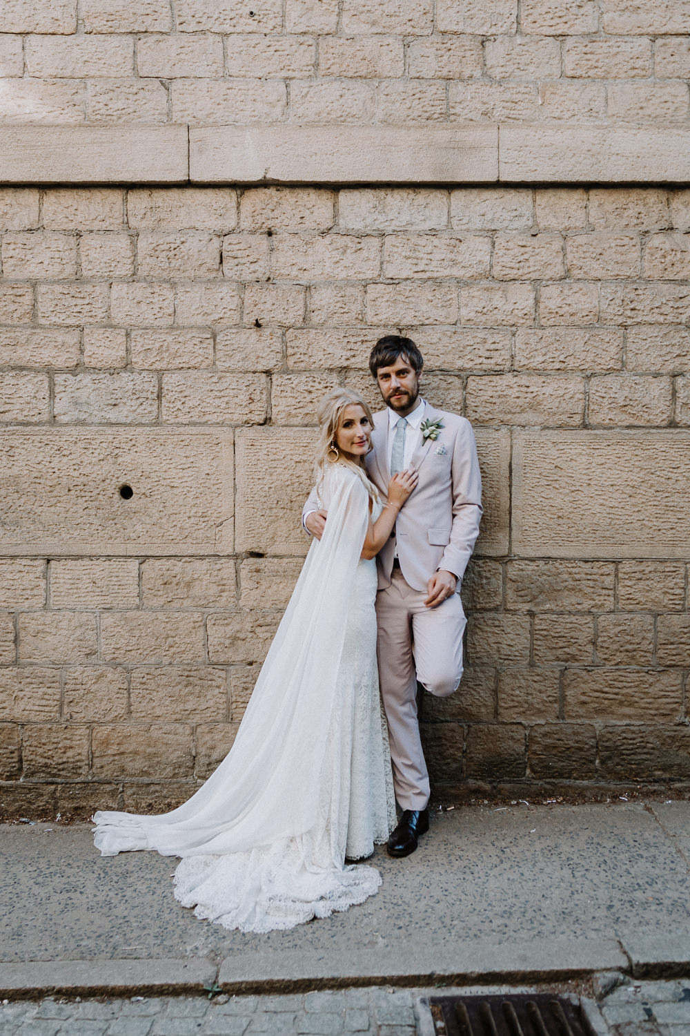 Dress Gown Bride Bridal Mikaella Bridal Cape Botanical Industrial Wedding Caitlin and Jones Photography