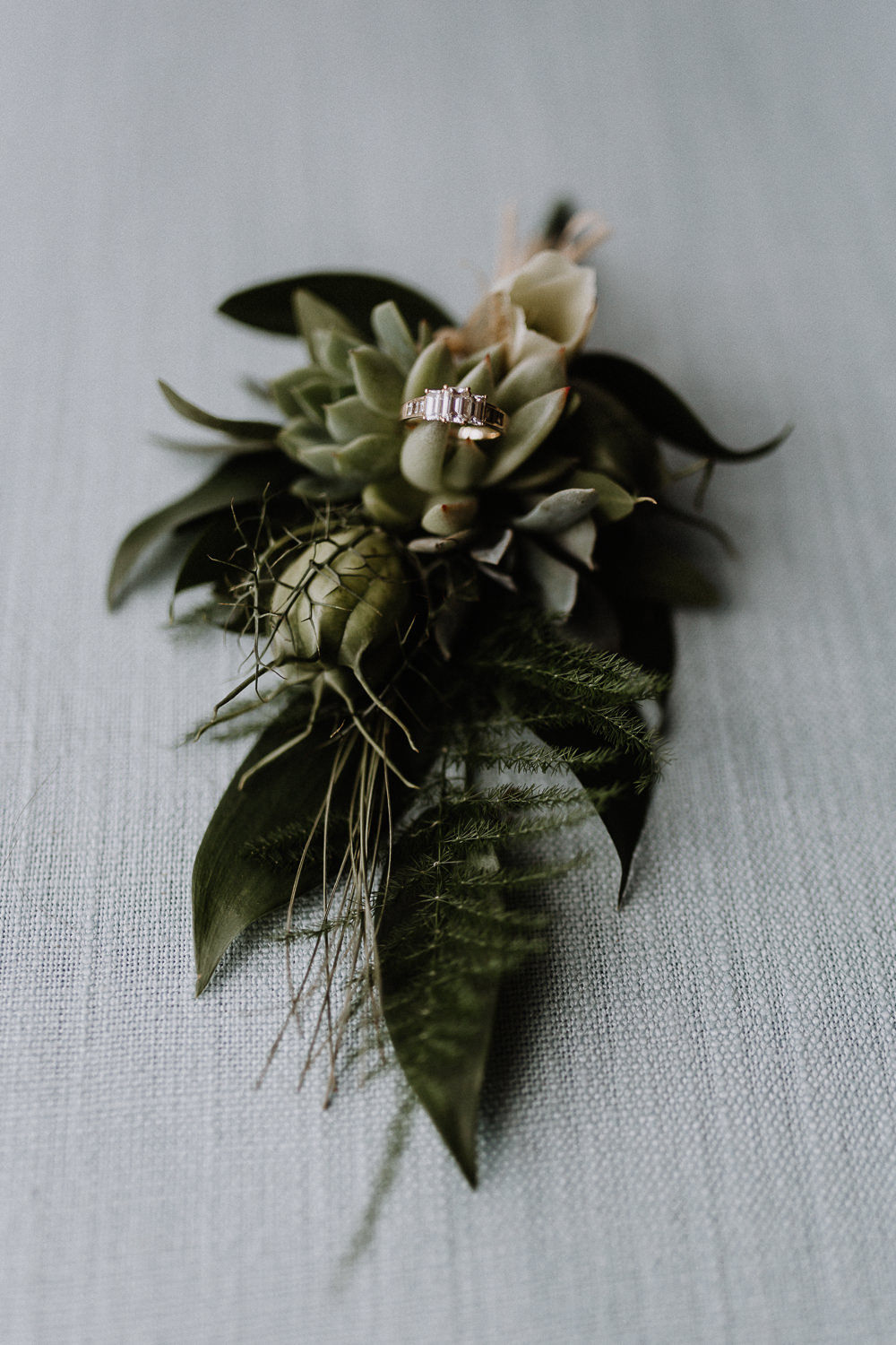 Buttonhole Flowers Greenery Foliage Fern Succulent Botanical Industrial Wedding Caitlin and Jones Photography
