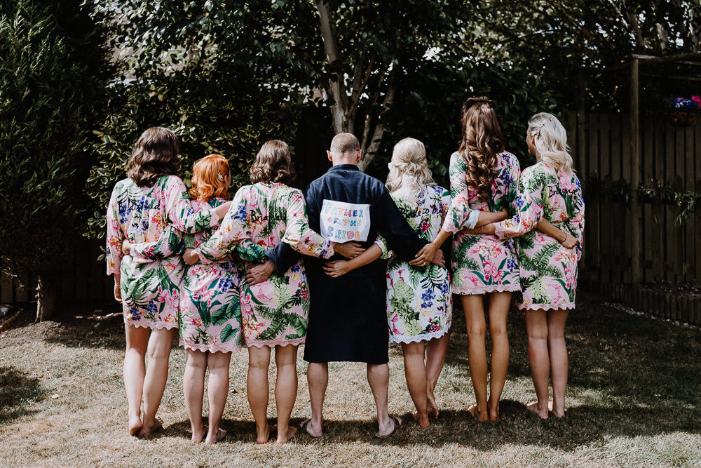 Bride Bridal Bridesmaid Dressing Gowns Robes Botanical Industrial Wedding Caitlin and Jones Photography