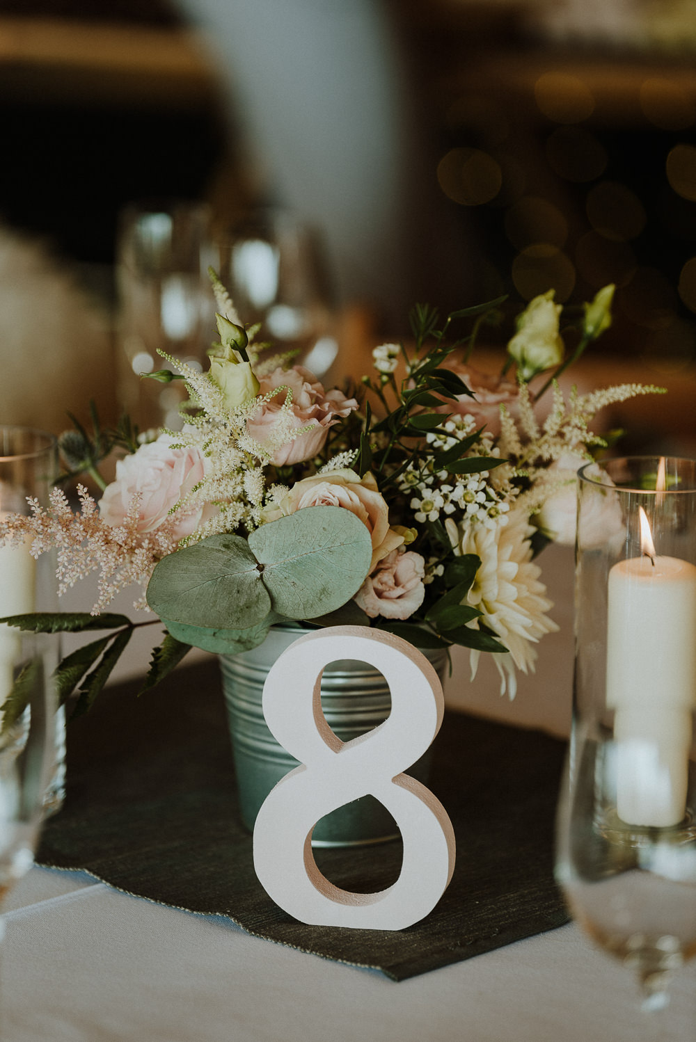 Tin Bucket Flowers Centrepiece Decor Table Candles Number Bre Pen Farm Wedding Nick Walker Photography