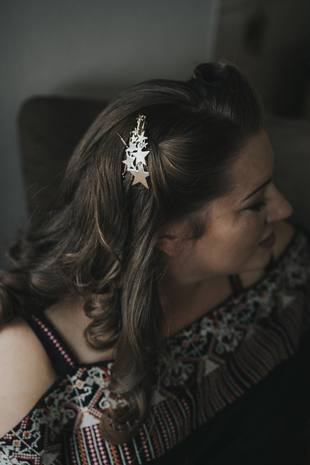 Celestial Hair Slide Bride Bridal Celestial Cow Shed Wedding Tora Baker Photography