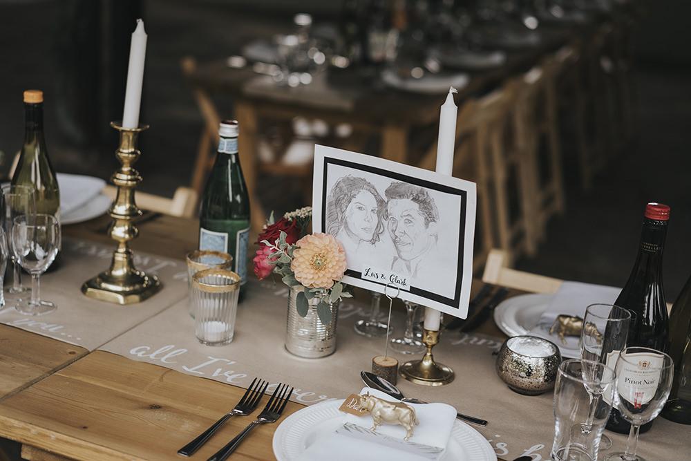 Table Runner Brass Candlesticks Celestial Cow Shed Wedding Tora Baker Photography