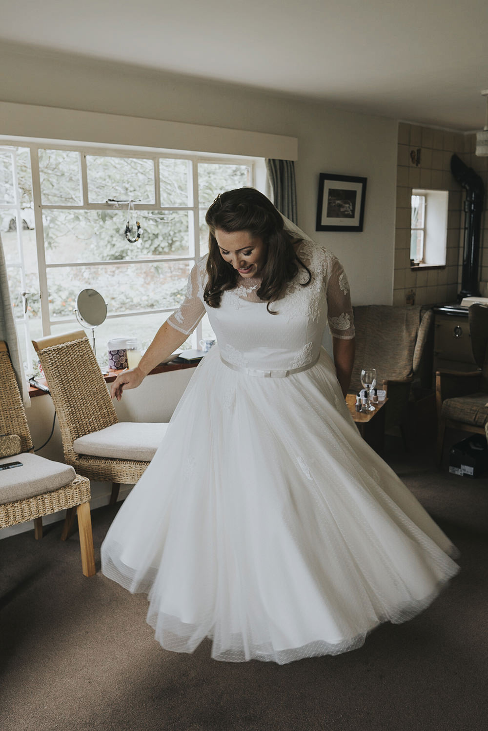 Bride Bridal Dress Gown Overlay Belt See Through Sleeves Lace Celestial Cow Shed Wedding Tora Baker Photography