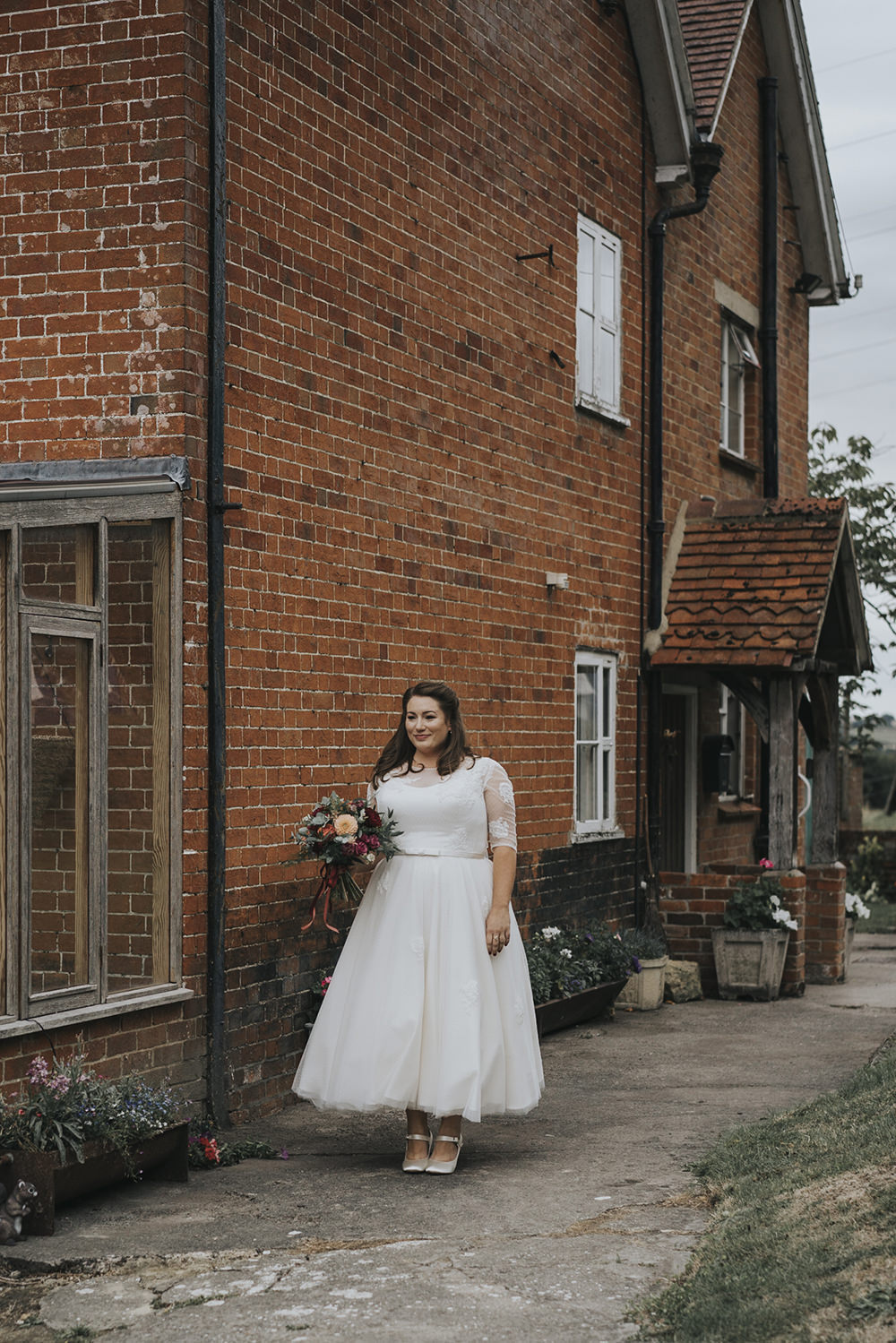 Bride Bridal Dress Gown Overlay Belt See Through Sleeves Lace Ballerina Length Celestial Cow Shed Wedding Tora Baker Photography