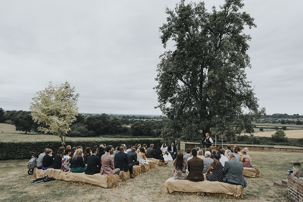 Outdoor Ceremony Hay Bales Celestial Cow Shed Wedding Tora Baker Photography