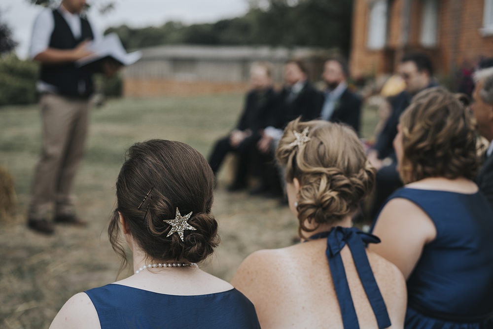 Hair Clip Star Navy Mismatched Bridesmaids Celestial Cow Shed Wedding Tora Baker Photography