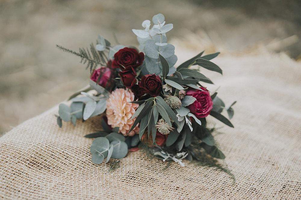 Bouquet Eucalyptus Rose Dahlia Celestial Cow Shed Wedding Tora Baker Photography