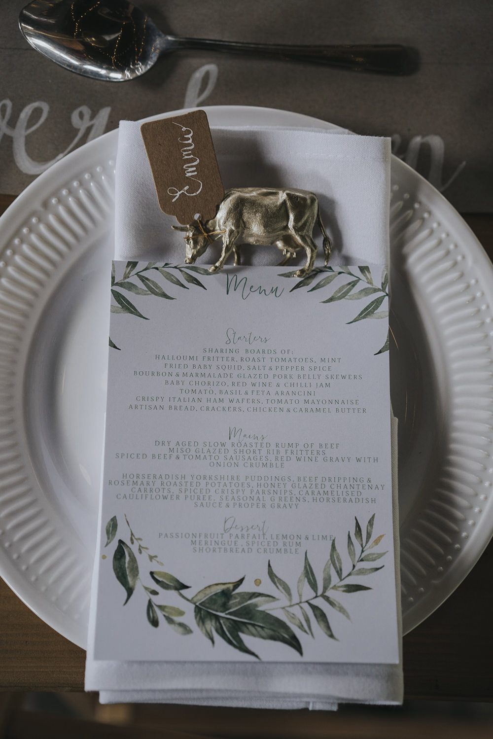 Menu Gold Cow Name Card Place Tag Celestial Cow Shed Wedding Tora Baker Photography