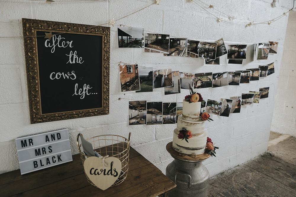Semi Naked Cake Buttercream Milk Churn Light Box Wire Basket Cards Celestial Cow Shed Wedding Tora Baker Photography