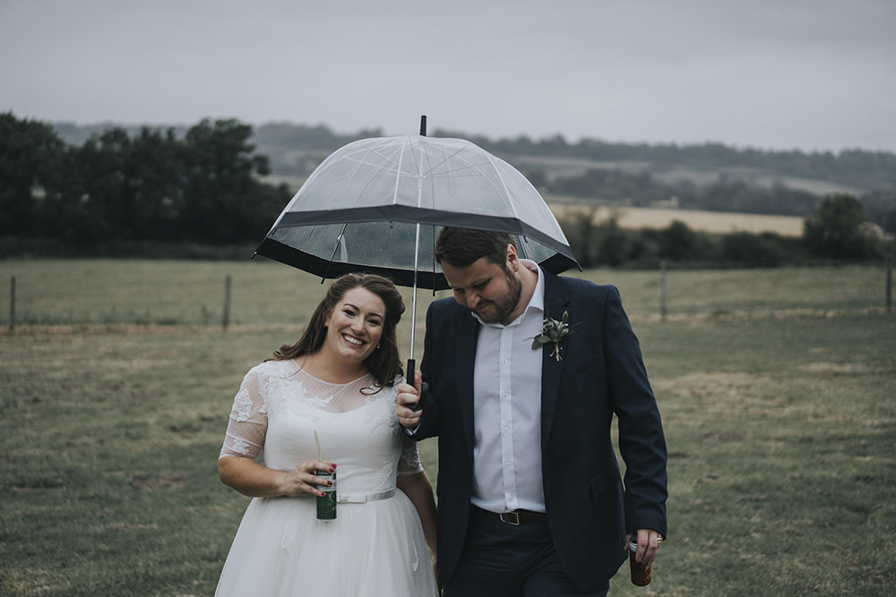 Bride Bridal Dress Gown Overlay Belt See Through Sleeves Open Shirt Groom Umbrella Rain Celestial Cow Shed Wedding Tora Baker Photography