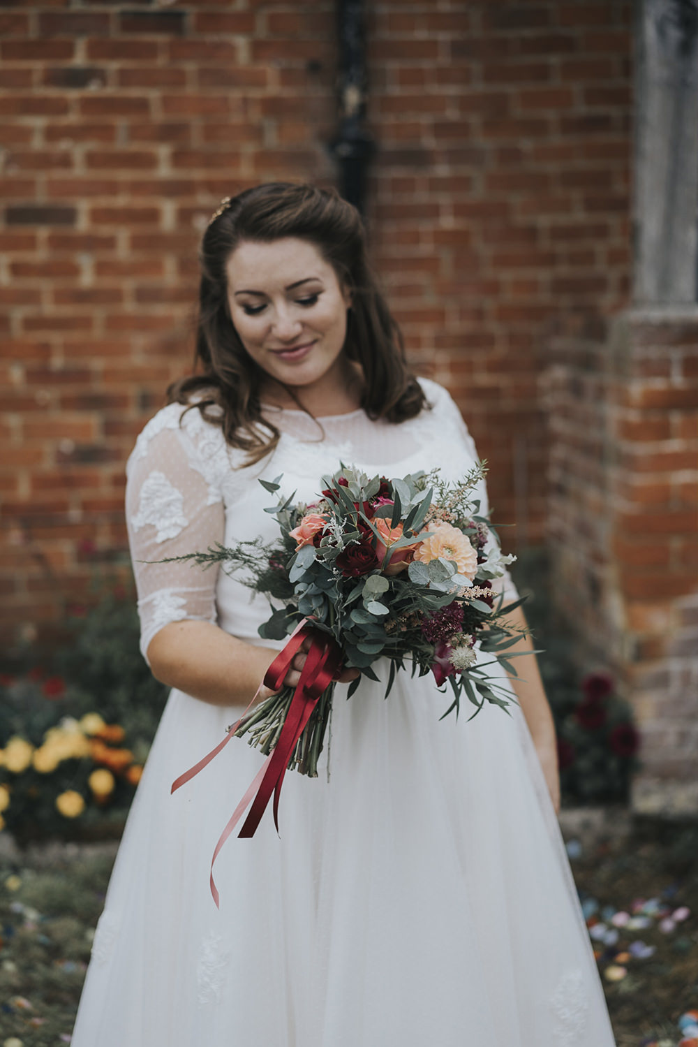 Bride Bridal Dress Gown Overlay Belt See Through Sleeves Burgundy Coral Dahlia Eucalyptus Bouquet Celestial Cow Shed Wedding Tora Baker Photography