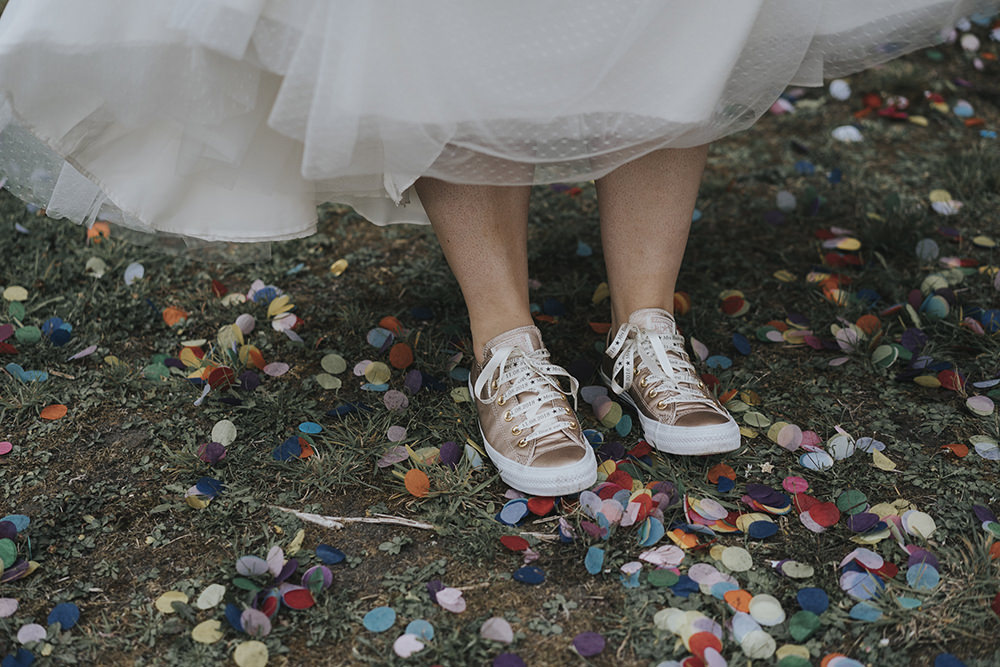 Bride Bridal Metallic Trainers Confetti Celestial Cow Shed Wedding Tora Baker Photography