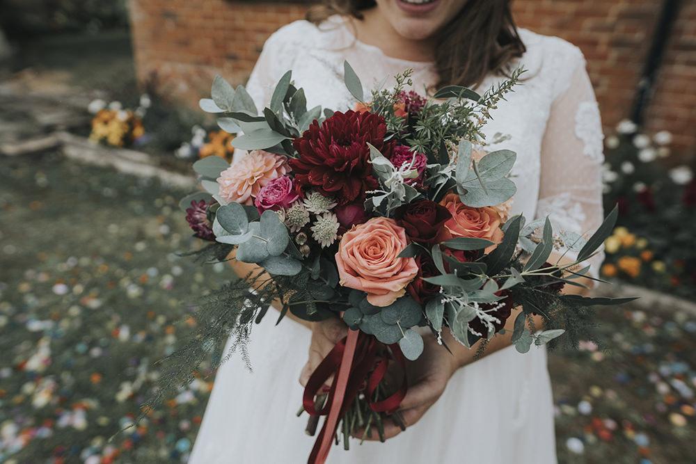Bride Bridal Bouquet Rose Dahlia Burgundy Coral Eucalyptus Celestial Cow Shed Wedding Tora Baker Photography