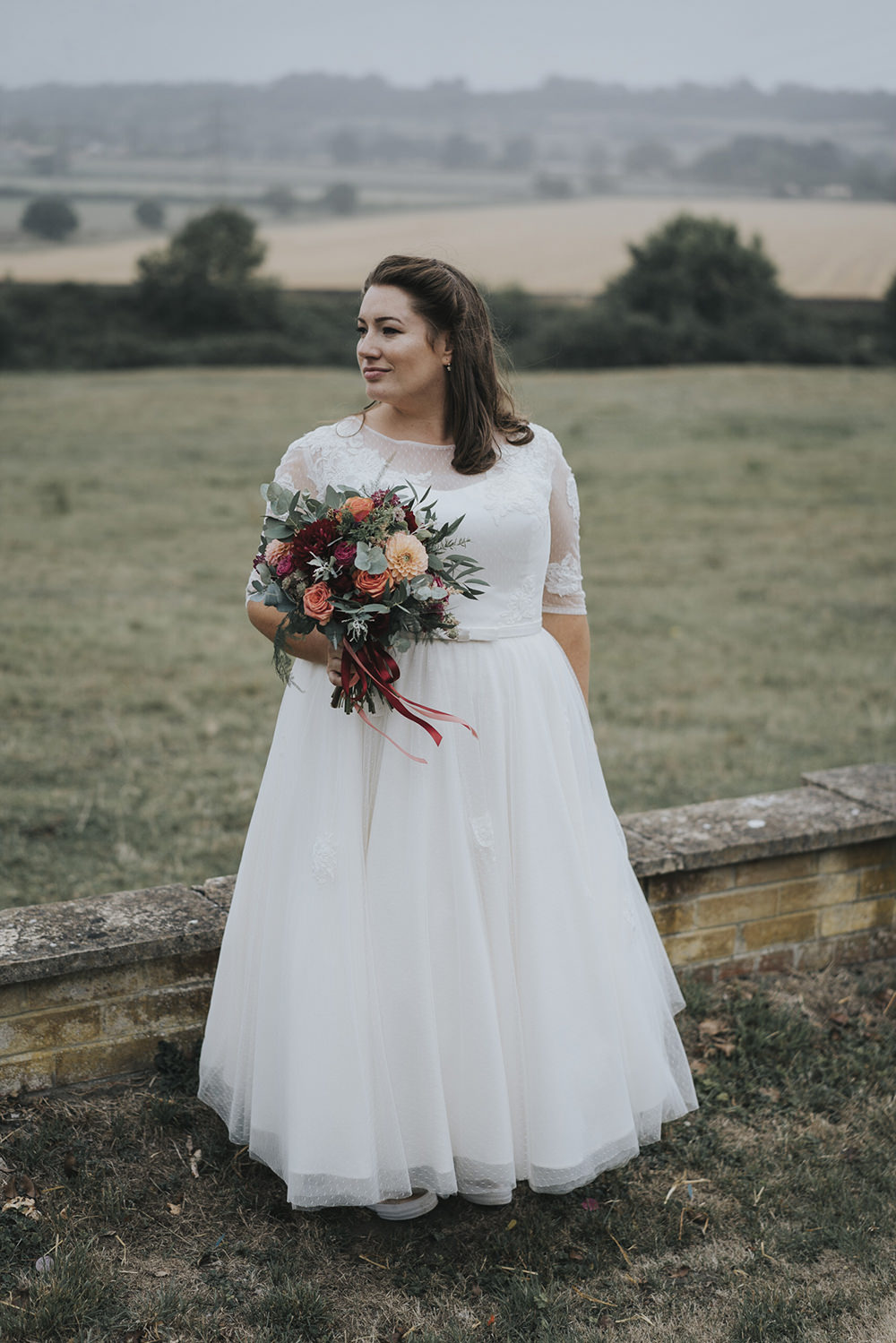 Bride Bridal Dress Gown Overlay Belt See Through Sleeves Bouquet Dahlia Burgundy Coral Celestial Cow Shed Wedding Tora Baker Photography